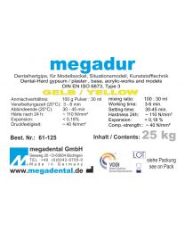 Megadental - Megadur - Yellow - Class 3 - For Sockel And Acrylic Technique - (25 kg)