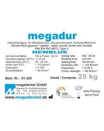 Megadental - Megadur - Blue - Class 3 - For Sockel And Acrylic Technique - (25 kg)